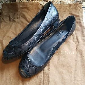 Gucci Guccissima Black Leather Peep Toe Flats 37